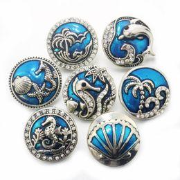 Wholesale Boom Life crystal dolphin sea mm botón a presión de metal Relojes de pulsera para mujer encanto de la pulsera DIY una dirección