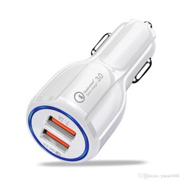 Cargador de coche samsung teléfono móvil online-Cargador USB para coche Cargador rápido 3.0 para teléfono móvil QC3.0 Cargador de puerto dual USB Cargador de coche rápido para iPhone Tableta Samsung Cargador de coche