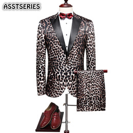 мужская одежда Скидка Elegant Men Suit Fashion New Leopard Print Groom Tuxedo Suit England Style Single Breasted Slim Fit Men Suits For Wedding