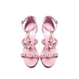 56c0af08cc7 Elegant Pink Silk Satin Bride Shoes Pointed High Heels Women s Lace Flowers  Pearl Dress Sandals Wedding Rhinestones Tassels