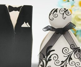 white wedding favour boxes wholesale 2018 - 100pcs  50pairs white black Vine bride and groom box wedding boxes favour jewelry boxes gift box