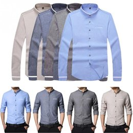 Wholesale Modify Dress - 2017 New Brand Men's Casual Long Sleeve Shirt Modified Collar Care Easy Collar Shirts Slim Fit Dress Shirt For Men Business