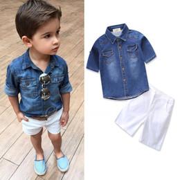 Wholesale Kid Boy Denim Shirt Wholesale - kids infant boys clothing sets denim blue shirt+white shorts pure cotton clothes sets
