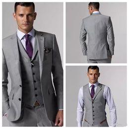 cheap lighting for weddings NZ - Custom Made Light Grey Cheap Groom Tuxedos Slim Fit Slit Side For Groomsmen Mens Wedding Prom Suits (Jacket+Pants+Vest)