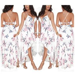 Deutschland Sommer Frauen Strandkleid Sexy Blumendruck Low-Cut rückenfreie Bandage High Split Party Kleider Versorgung