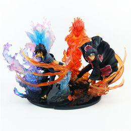 itachi sasuke azione figura Sconti 23cm Anime Naruto Action Figure PVC Zero Uchiha Itachi Fire Sasuke Susanoo Relation Collection Model Toy
