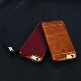 Luxus iphone 5s handy fällen online-Pierre cardin echtes leder mode luxus iphone fall handy case für iphone 5 5g 5s rückseitige abdeckung vintage