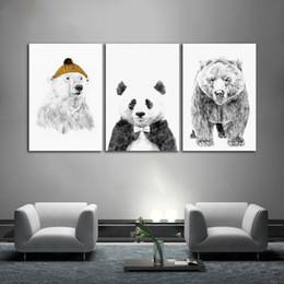 Schwarz und Weiß Nordic Minimalistischen Eisbär Bild Ungerahmt Leinwand Malerei für Wohnzimmer Dekoration Wandkunst Poster und Drucke von Fabrikanten