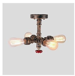 Luces de techo industriales vintage Estilo retro Araña 4 luces Steampunk Metal Pipe Rústico Interior Hogar Retro Accesorio de iluminación (pintado wi desde fabricantes