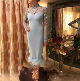 Canada Robes de soirée haute encolure Sage 2018 manches longues longueur de thé appliques robe de soirée de gaine de plumes Celebrity Red Carpet Dress cheap sage tea Offre