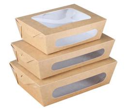 Scatola di insalata di carta Kraft di formato 3 Scatola di frutta per il pranzo da asporto a prova di acqua usa e getta Forniture di campeggio Stoviglie 400 pz / lotto da usa e getta bento all'ingrosso fornitori