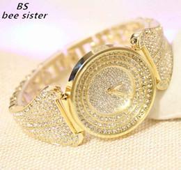 relógios de senhora Desconto Marca BS Moda Rhinestone De Quartzo das senhoras Assistir Vestido De Ouro Relógios das Mulheres Cheia de Diamante De Cristal Pulseira Relógio relogio feminino Y1890304