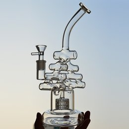 Geigenpfeife online-Becher Bong Recycler Oil Rigs 8,6 Zoll Violine Dab Rigs Hookah Pipes Zwei Funktion Matrix Perc Wasserpfeifen Glasbong