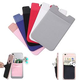 Blackberry stickers online-Lycra Handy-Stick auf Brieftasche Kreditkarteninhaber Pouch Adhesive Sticker Pocket für iPhone Samsung