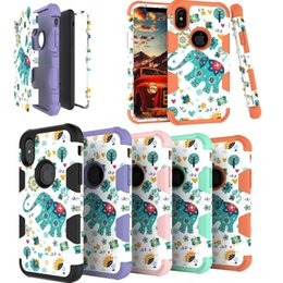 Wholesale robot painting - Painting Elephant Heavy Robot Armor Case for iPhone X 8 7 6S Plus Full Protective Dual Colors Three Layers TPU PC Back Cover for Samsung Gal