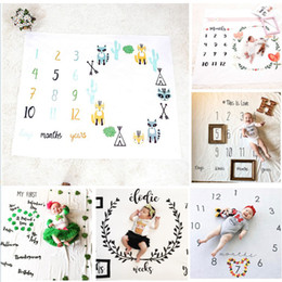 Wholesale Number Props - Newborn Baby Photography Background Props Baby Photo Fabric Backdrops Infant Blankets Wrap Letter Flower Numbers Print Cloth
