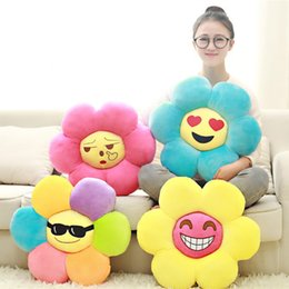 Wholesale Girlfriend Cushion - New Coming 1Pc 45Cm Creative cartoon QQ emoji lovely face sun flower cushion office cushion plush pillow Kids Girlfriend Gift