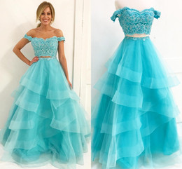 Wholesale Long Aqua Beaded Prom Dress - Aqua Prom Dress 2 Piece A line Tulle Ruffles 2018 Off shoulder With Applique Lace Backless Cheap Evening Formal Dress Gowns For Girls