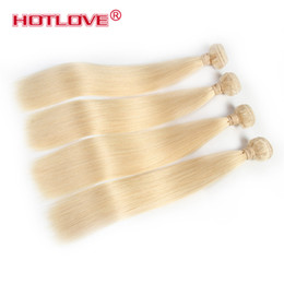 Wholesale Blonde Weft Remy Hair Extensions - HOTLOVE Color 613 Blonde Brazilian Virgin Remy Straight Hair Bundles 4 Pieces   Lot Mixed Length 12-24 inch Honey Blond Human Hair Extension