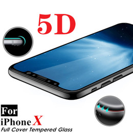 Wholesale Cover Iphone Film 3d - Real Curved Edge Full Cover 5D Tempered Glass Black White Film Screen Protector For iPhone X 8 7 6 6S Plus Without Retail Package