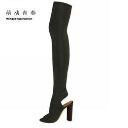 Scarpa da donna bootie online-2017 Stivali estivi sopra il ginocchio Stivali Donne estate scarpe primavera lunghi a metà coscia Botas donna Bootie Sapatos