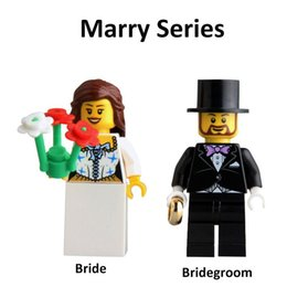 Wholesale Wedding Bridegroom - DHL 120pcs Mix Lot Wedding Series Minifig Bridegroom Marry Bride KL9010 Minifig Mini Building Blocks Figures