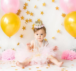 decorazioni rosa corona Sconti Baby First Second Birthday Party Hat Decorazione First Birthday Hat Princess Crown Girl Party Flower Cappelli Pink Princess Crown