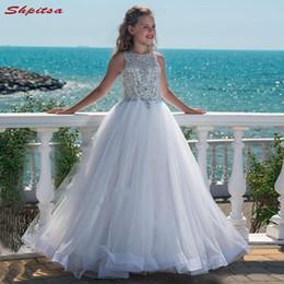 Erste kommunionsroben online-Weiße Blumen-Mädchen-Kleider für Hochzeiten Erstkommunion Pageant Kleider für Hochzeit Mädchen Kid Mesh-Kleider Robes