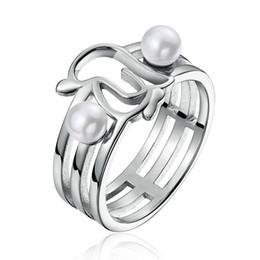 Echtes 925 Sterling Silber Openwork Penguins Simulierte Perle Fingerring für Frauen Jahrestag Schmuck Geschenk SCR152 von Fabrikanten