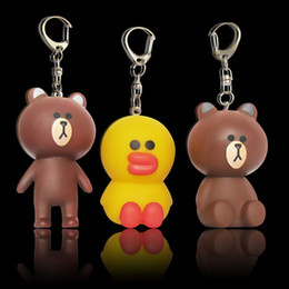 Wholesale Car Duck - Super Lovely Soft PVC Key Ring Cartoon Duck Bear Cute Design Keychain Kid Favor For Novelty Gifts Keys Buckle Charms 1 1gy Z