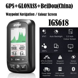 Wholesale wireless navigation - Colour Screen Waypoint Navigation IGPSPORT IGS618 GPS Cycling Computer Bicycle Digital Stopwatch Speedometer ANT+ Bluetooth 4.0