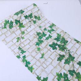 Wholesale wallpaper rolls green - PVC self-adhesive wallpaper green leaves white brick bathroom balcony self-adhesive wallpaper waterproof -265