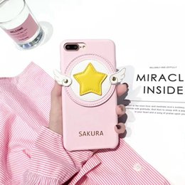 Wholesale Wholesale Iphone Anime Case - Japan Girl 3D Anime Sakura Leather Case For iPhone 6 6s Plus 7 8 X Star Magic Wand Angel Wings Phone Cover