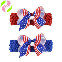 Wholesale 4th july wholesale - Fashion Baby Headbands 4th of july Bows Girls Headbands Jojo bow Infant Crochet Headbands kids Hair Sticks Children Hair Accessories A1682