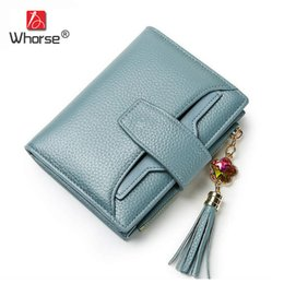 Wholesale Nice Bag Brands - [WHORSE] Brand Fashion Tassel Genuine Leather Women Mini Wallet Zipper Purse Short Handbag 5 Colors For Girl Lady Nice Gift Money Bag W1160