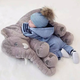 Wholesale Seat Lumbar Pillow - 40*33cm Baby Soft Plush Elephant Sleep Pillow Calm Doll Toys Sleep Bed Lumbar Seat Cushion Kids Portable Bedroom Bedding Stuffed