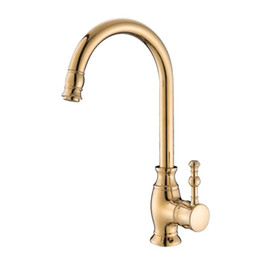Wholesale Full Sink - Kitchen Faucets European full brass Golden Hot and Cold Sink Tap Vegetables Basin Rotate Spout Drinking Water Faucet