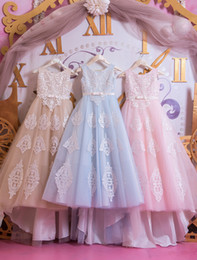 Wholesale Designer Dresses Kids Girls - New Designer 2018 Girls Pageant Dresses Applique Lace Jewel Neck Bow Floor Length First Communion Dresses Ball Gown Birthday Gowns For Kids