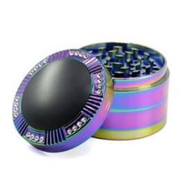 Wholesale Rainbow Smokes - 63mm Dome-shaped Cap With Diamond Herbal Tobacco Grinder Iceblue Rainbow Herb Grinder Zinc Alloy Smoking Accessories CCA8641 20pcs