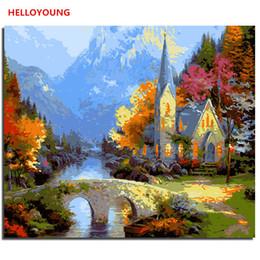 Casa de pinturas a óleo on-line-Pintura Lakeside Villa Digital Pintura pintado à mão óleo por números pinturas a óleo balão cor da imagem desenho pinturas de rolagem