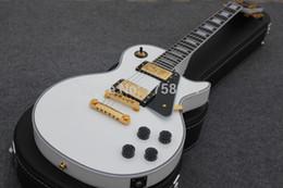 Wholesale Golden Mahogany - Free Shipping Ebony Fingerboard, Alpine White, Golden Hardware Custom LP Electric Guitar In Store