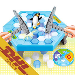 Wholesale Ice Plastics - 36 set lot Penguin Trap Game Interactive Toy Ice Breaking Table Plastic Block Games Penguin Trap Interactive Games Toys for Kids