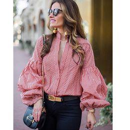 Argentina Nueva moda Para mujeres camisetas con manga larga con cuello en v; botones Camisetas para otoño de mujer Casual Slim Tops Ropa de mujer Para mujer Bl cheap long sleeve button neck t shirt Suministro