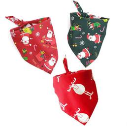 Bufandas para perros online-50 unids / lote 100% Algodón Bufanda de Perro Bandana Pet Grooming Dog Neckerchief Ajustable Bufanda Triangular Regalo de Navidad