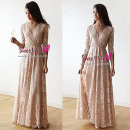 Robes de soirée de bal v cou en Ligne-Dames vintages dentelle rose manches longues robes de demoiselle d'honneur col en v pleine longueur robe de mariée partie dîner invité robe de bal