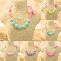 Wholesale Halloween Bubblegum Necklace - 2018 Fashion Jewelry Beads Necklace Little Girl Baby Kids Princess Bubblegum Necklace For Party Dress Up Birthday Gifts