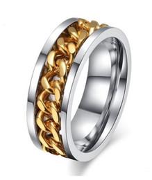 bijoux pour femmes expédition gratuite Promotion Bague de mariage Livraison gratuite bijoux 8mm or 18K chaîne en acier inoxydable Design spinner anneaux pour les bandes de mariage des femmes des hommes Vente chaude!