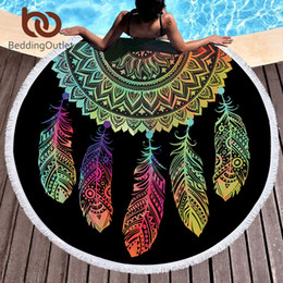 compressed beach towels Promo Codes - Beddingoutlet Colorful Dreamcatcher Tassel Mandala Tapestry Black Round Beach Towel Toalla Sunblock Blanket Yoga Mat 150cm