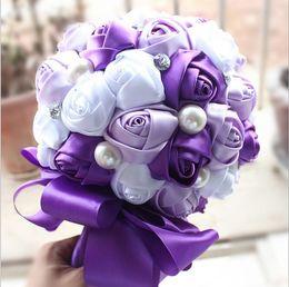Wholesale Dried Flowers Bouquet - 2018 Elegant Rose Artificial Bridal Flowers Bride Bouquet Wedding Bouquet Crystal Silk Ribbon New Buque De Noiva 5 Colors