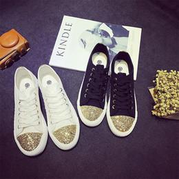 2019 bling scarpe piatte bianche Sneakers donna 2018 Autunno bianco casual scarpe stringate donne scarpe di tela Appartamenti moda paillettes bling signore scarpe da passeggio donna L-20 bling scarpe piatte bianche economici